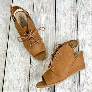 SO Tan Faux Suede Lace Up Open Toe Wedges